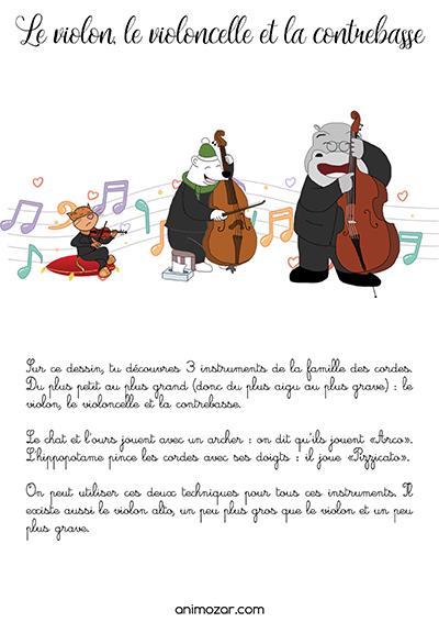 Fiche violon, violoncelle, contrebasse