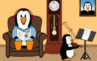 Bébé pingouin joue faux avec son violon