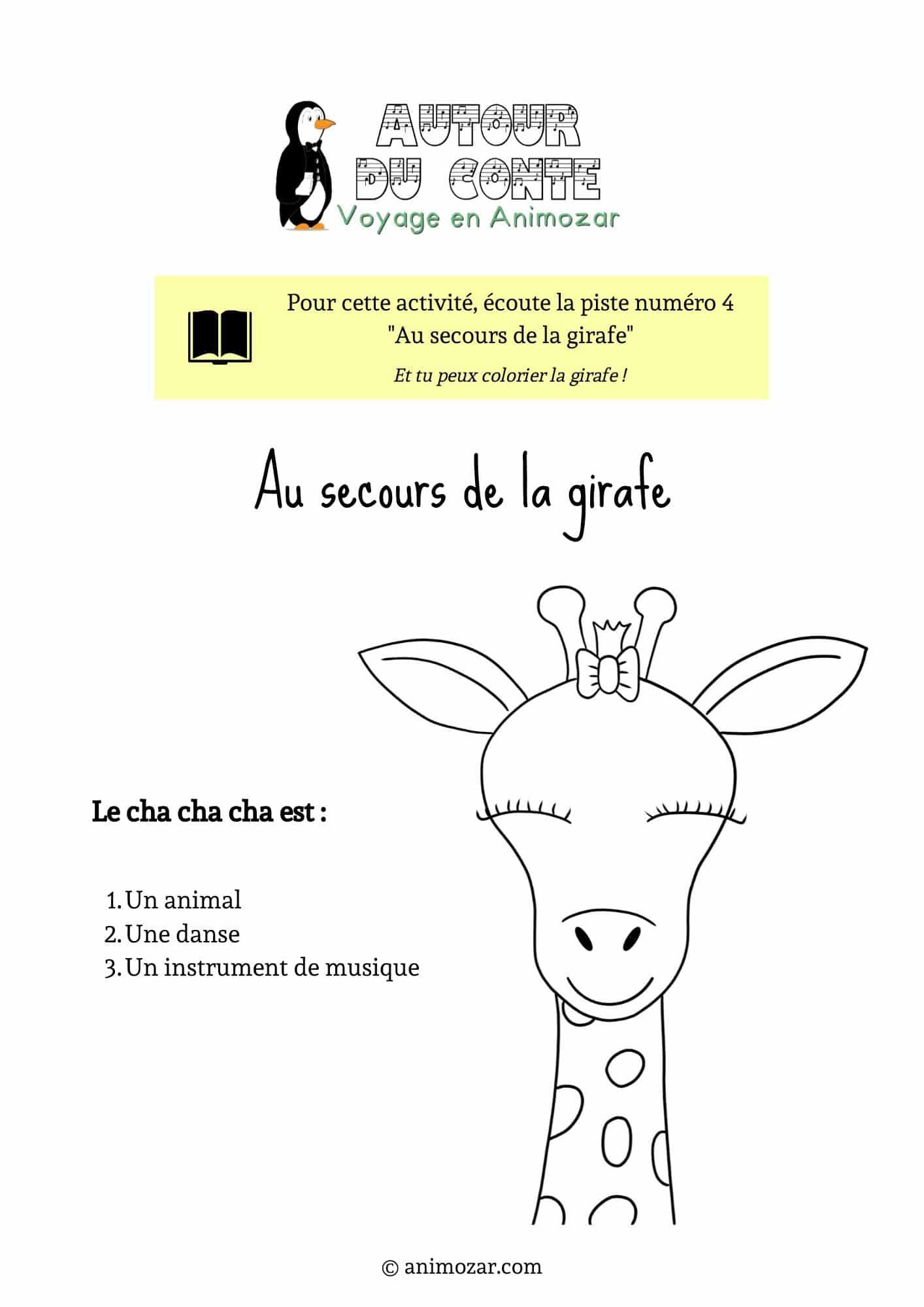 Activité : au secours de la girafe