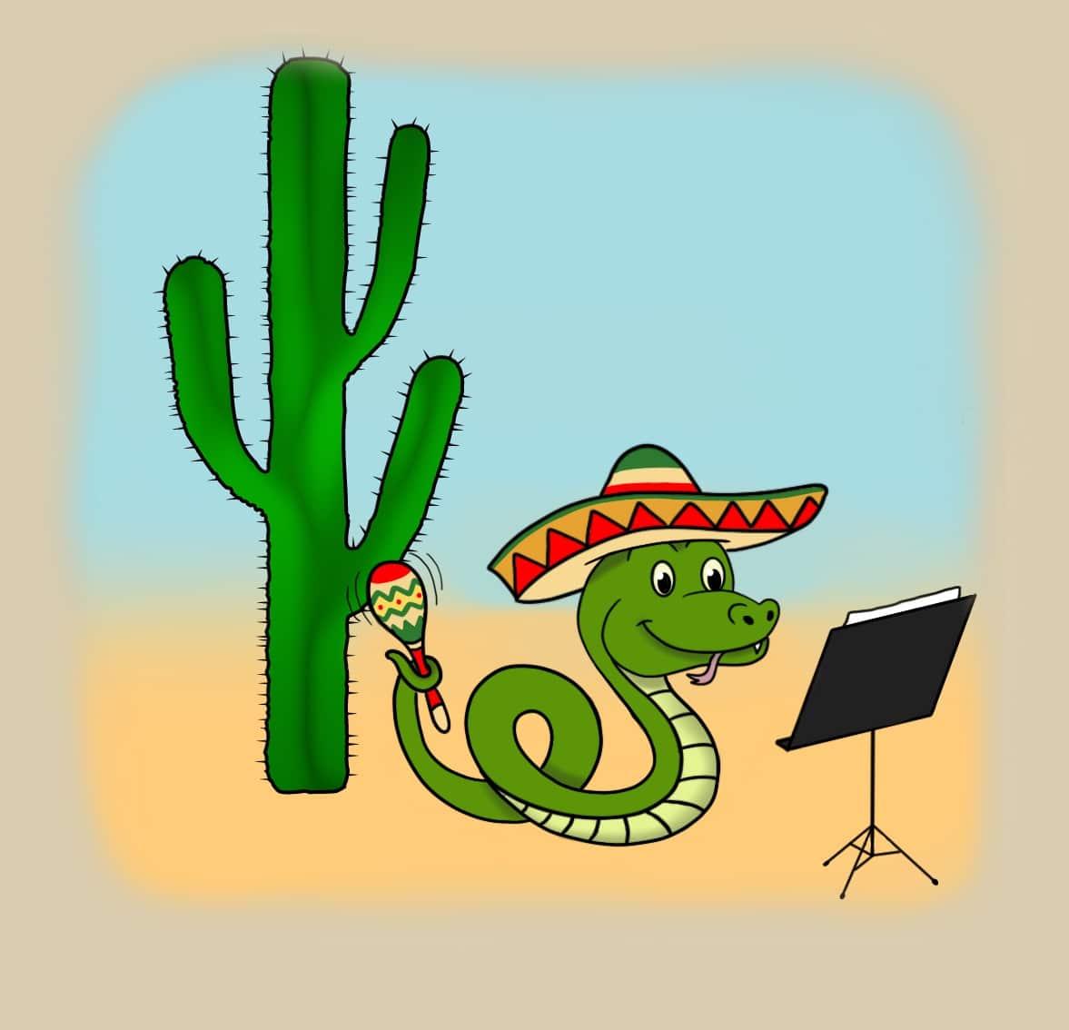 Serpent qui joue des maracas symphonie des animaux