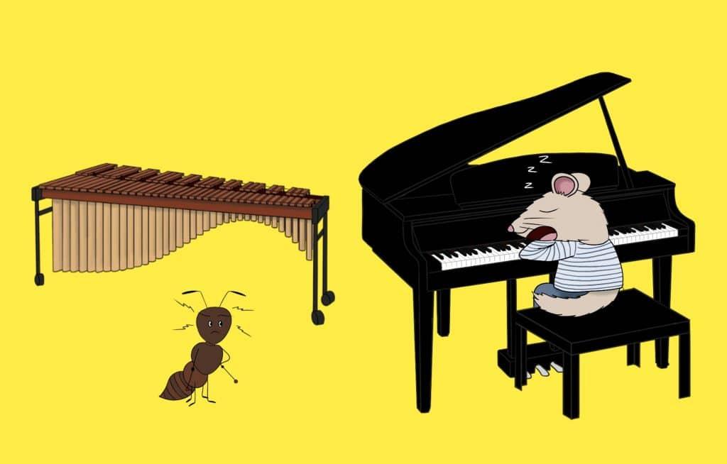 Loir et son piano et la fourmi et son marimba