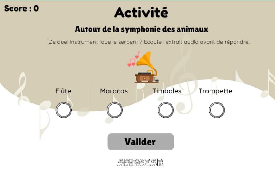 Activité La symphonie des animaux